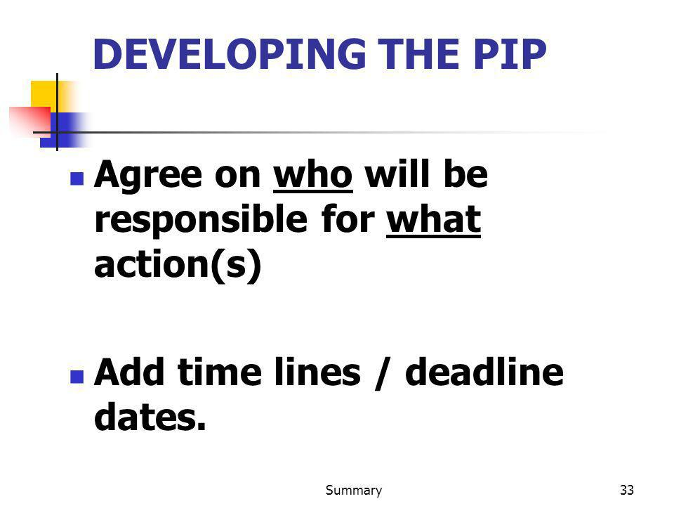 Summary33 DEVELOPING THE PIP Agree on who will be responsible for what action(s) Add time lines / deadline dates.