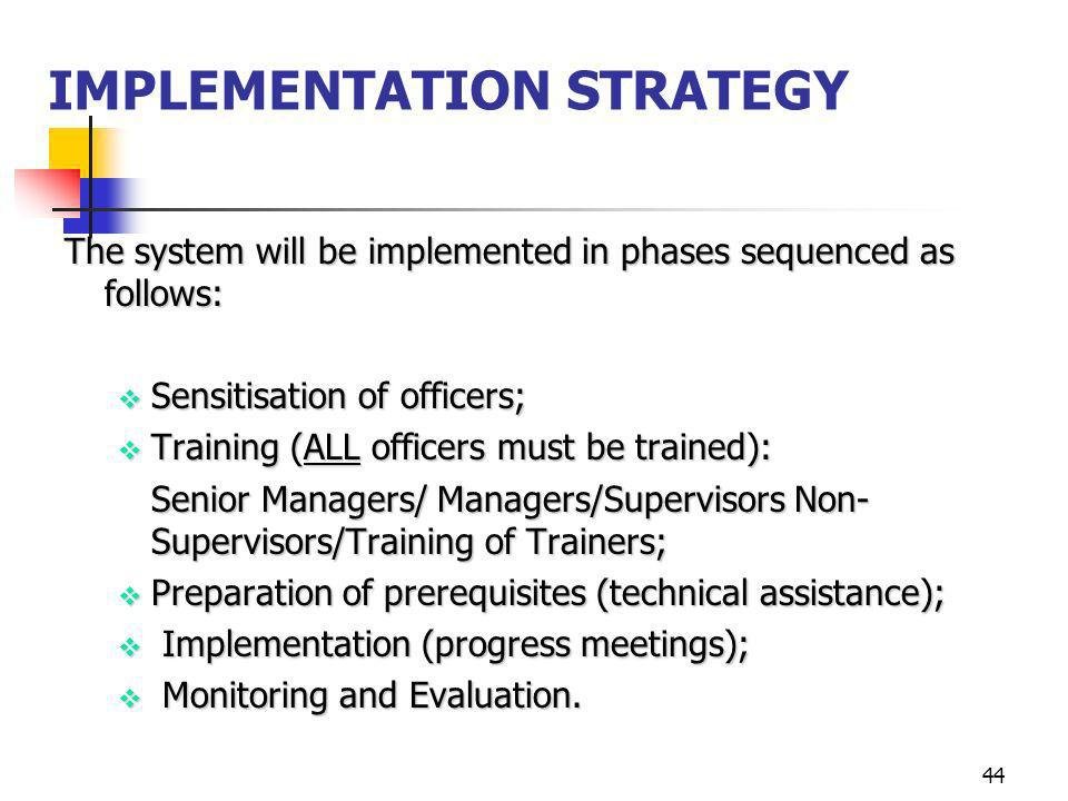 44 IMPLEMENTATION STRATEGY The system will be implemented in phases sequenced as follows: Sensitisation of officers; Sensitisation of officers; Traini