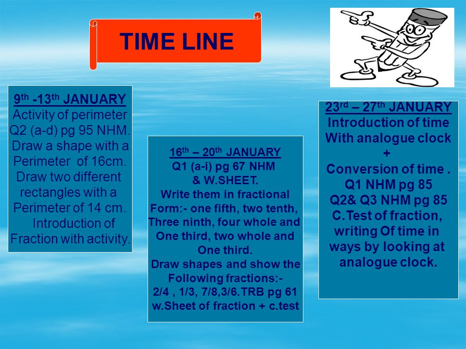 TIME LINE 9 th -13 th JANUARY Activity of perimeter Q2 (a-d) pg 95 NHM.