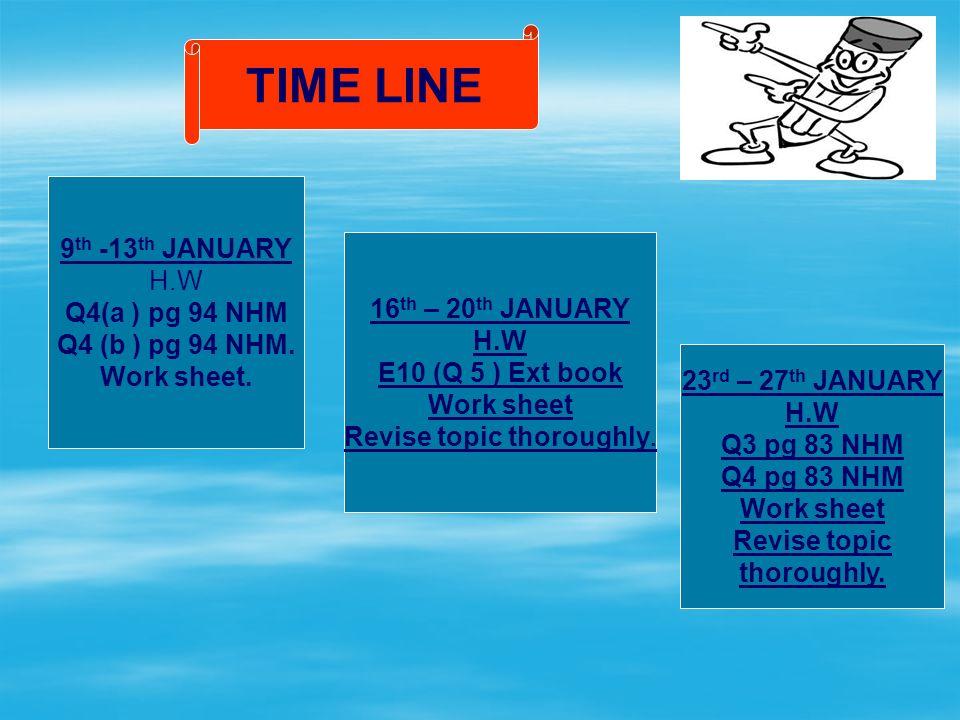 TIME LINE 9 th -13 th JANUARY H.W Q4(a ) pg 94 NHM Q4 (b ) pg 94 NHM.