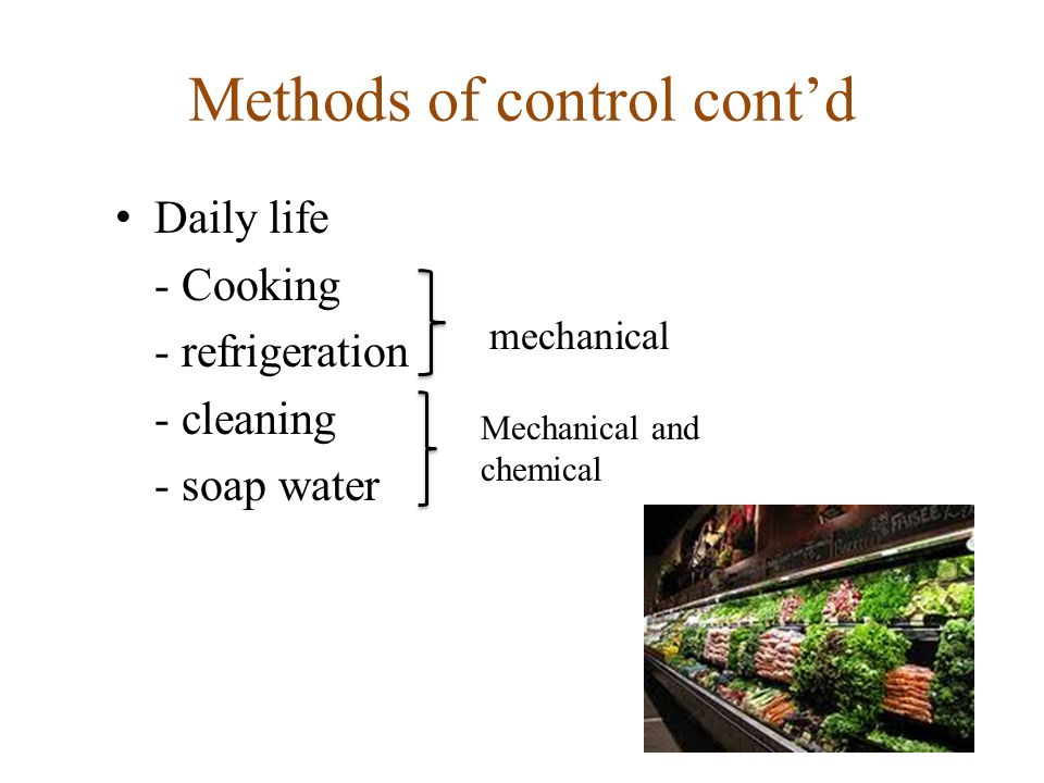Methods of control contd Daily life - Cooking - refrigeration - cleaning - soap water mechanical Mechanical and chemical