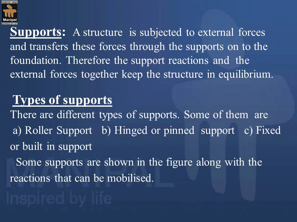 Supports: A structure is subjected to external forces and transfers these forces through the supports on to the foundation. Therefore the support reac