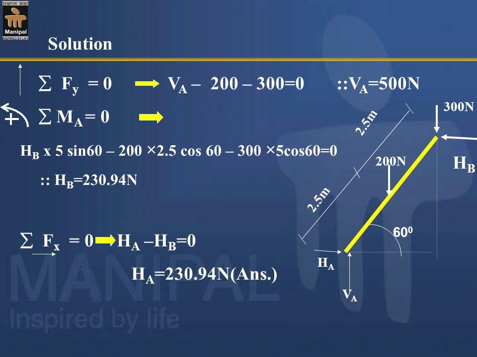 F y = 0 V A – 200 – 300=0 ::V A =500N M A = 0 H B x 5 sin60 – 200 × 2.5 cos 60 – 300 × 5cos60=0 :: H B =230.94N F x = 0 H A –H B =0 H A =230.94N(Ans.)