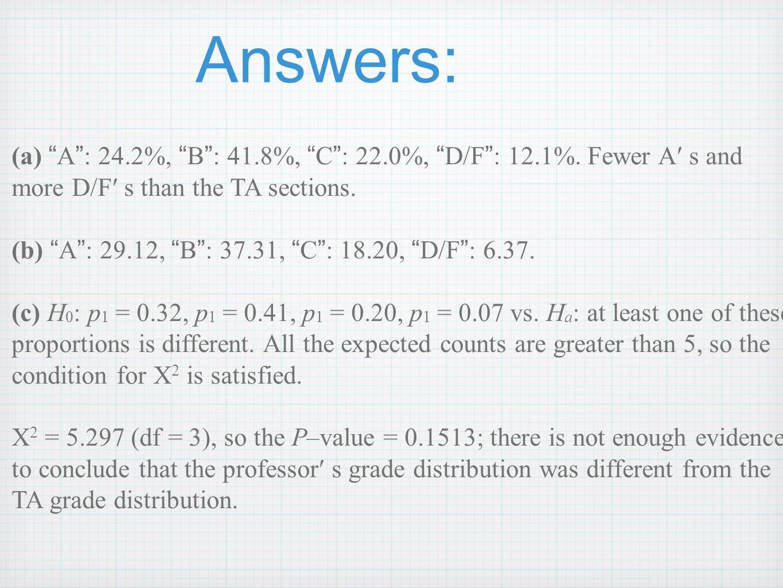 Answers: (a) A : 24.2%, B : 41.8%, C : 22.0%, D/F : 12.1%. Fewer A s and more D/F s than the TA sections. (b) A : 29.12, B : 37.31, C : 18.20, D/F : 6