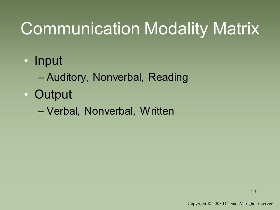 Copyright © 2008 Delmar. All rights reserved. 19 Communication Modality Matrix Input –Auditory, Nonverbal, Reading Output –Verbal, Nonverbal, Written