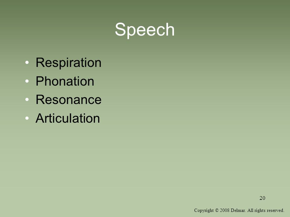 Copyright © 2008 Delmar. All rights reserved. 20 Speech Respiration Phonation Resonance Articulation