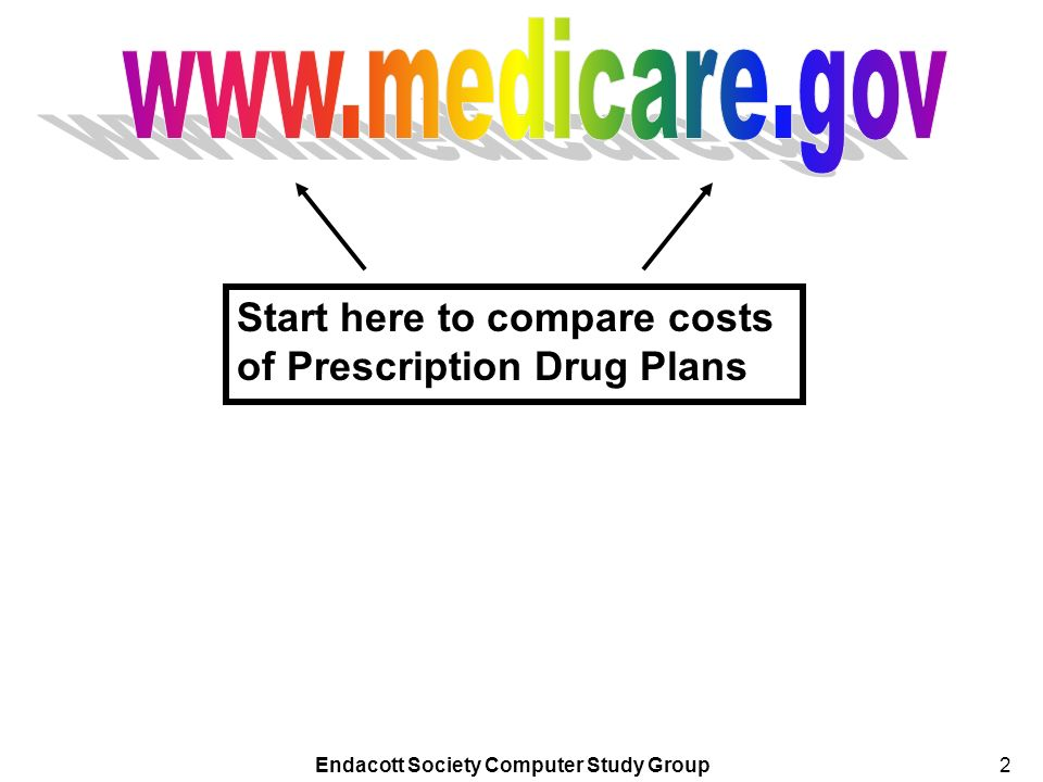 Endacott Society Computer Study Group2 Start here to compare costs of Prescription Drug Plans