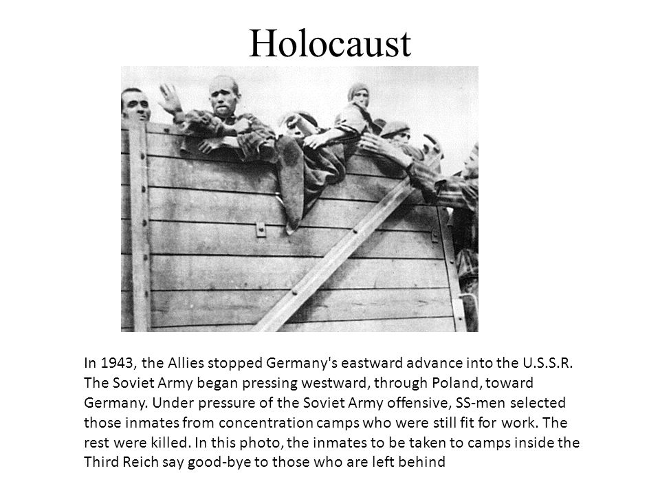 Holocaust In 1943, the Allies stopped Germany's eastward advance into the U.S.S.R. The Soviet Army began pressing westward, through Poland, toward Ger