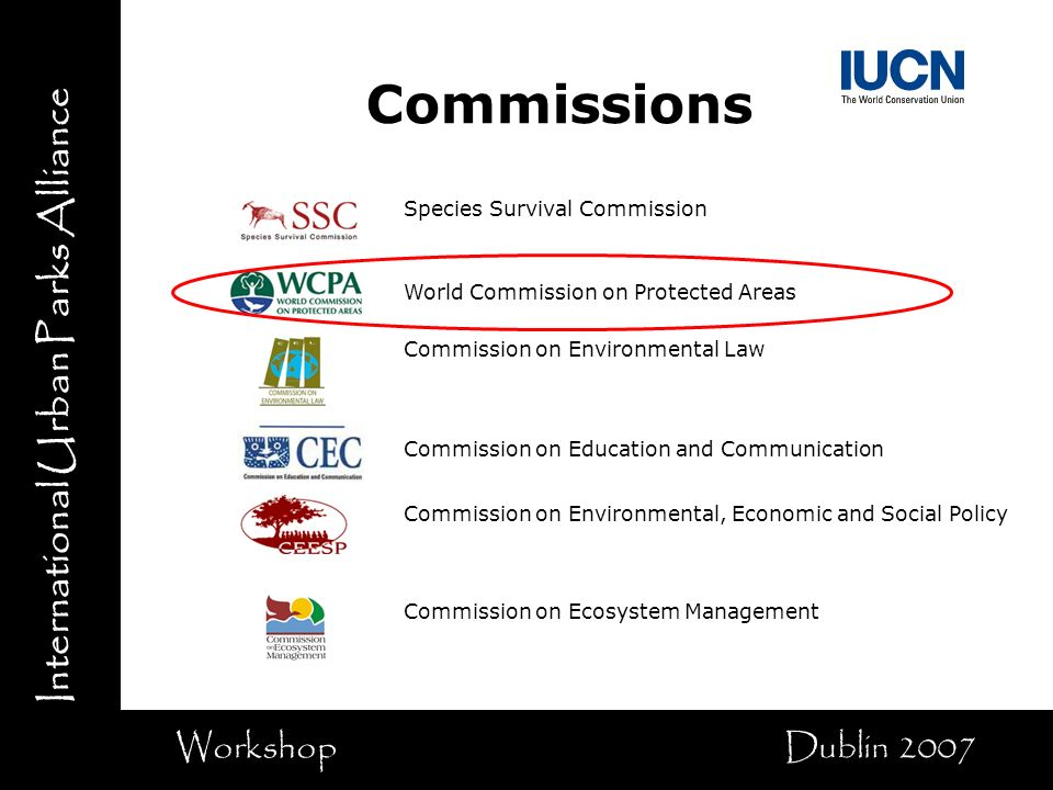 International Urban Parks Alliance Workshop Dublin 2007 Species Survival Commission World Commission on Protected Areas Commission on Environmental Law Commission on Education and Communication Commission on Environmental, Economic and Social Policy Commission on Ecosystem Management Commissions