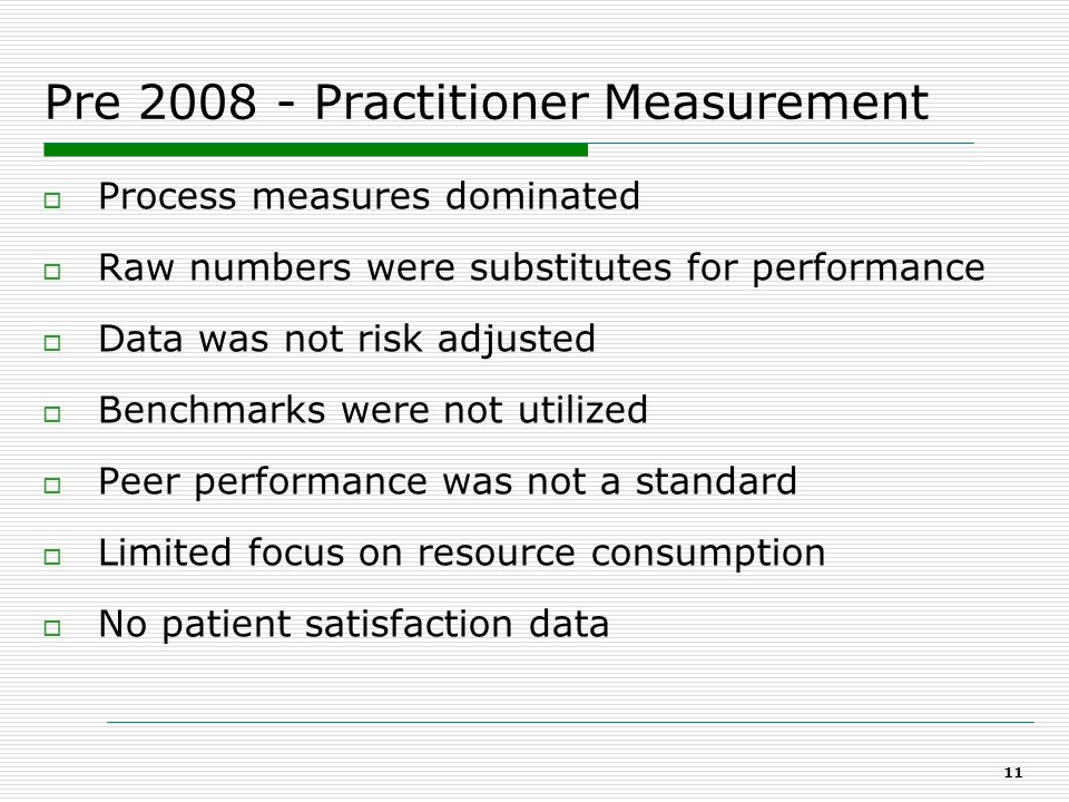 Physician Activity & Outcome Report State of the Art Performance Based Measurement