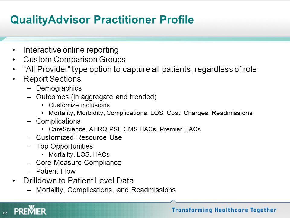 QualityAdvisor Practitioner Profiles Conceptual Design and Prototypes Richard Bankowitz, MD, MBA. Vice President, Medical Director, Premier Healthcare