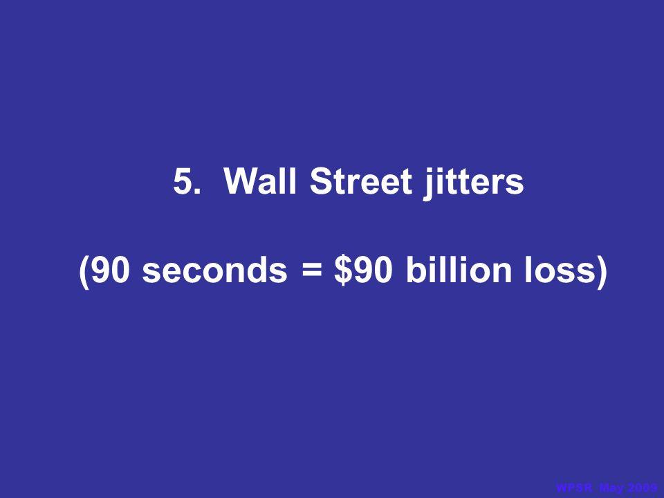 5. Wall Street jitters (90 seconds = $90 billion loss) WPSR May 2009