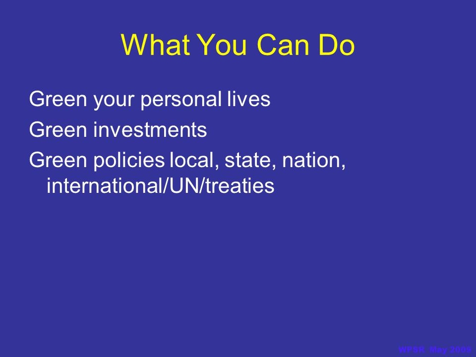 What You Can Do Green your personal lives Green investments Green policies local, state, nation, international/UN/treaties WPSR May 2009