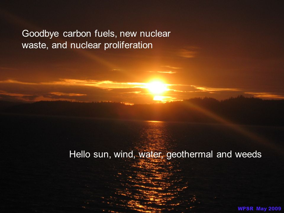 Goodbye carbon fuels, new nuclear waste, and nuclear proliferation Hello sun, wind, water, geothermal and weeds WPSR May 2009