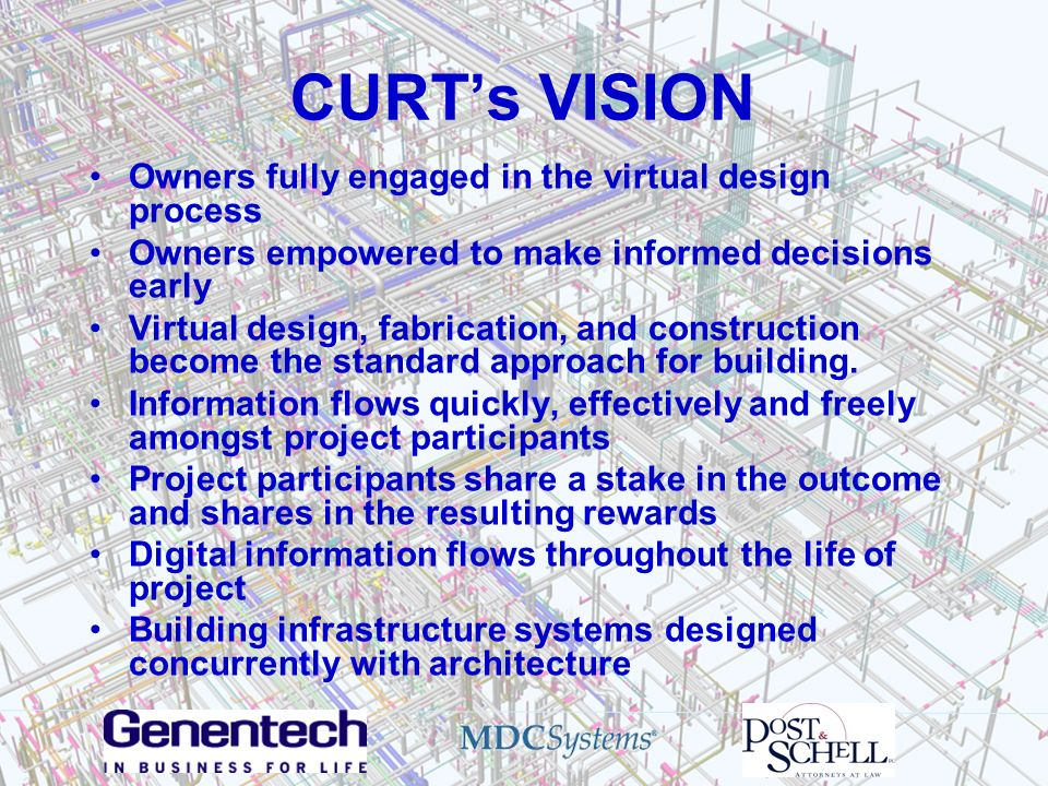 CURTs VISION Owners fully engaged in the virtual design process Owners empowered to make informed decisions early Virtual design, fabrication, and con