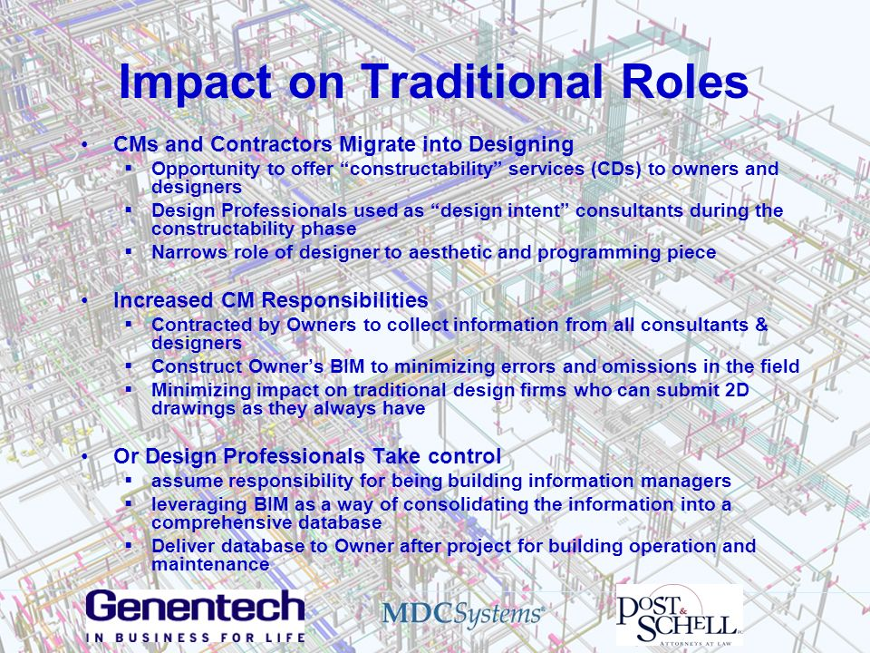 Impact on Traditional Roles CMs and Contractors Migrate into Designing Opportunity to offer constructability services (CDs) to owners and designers De