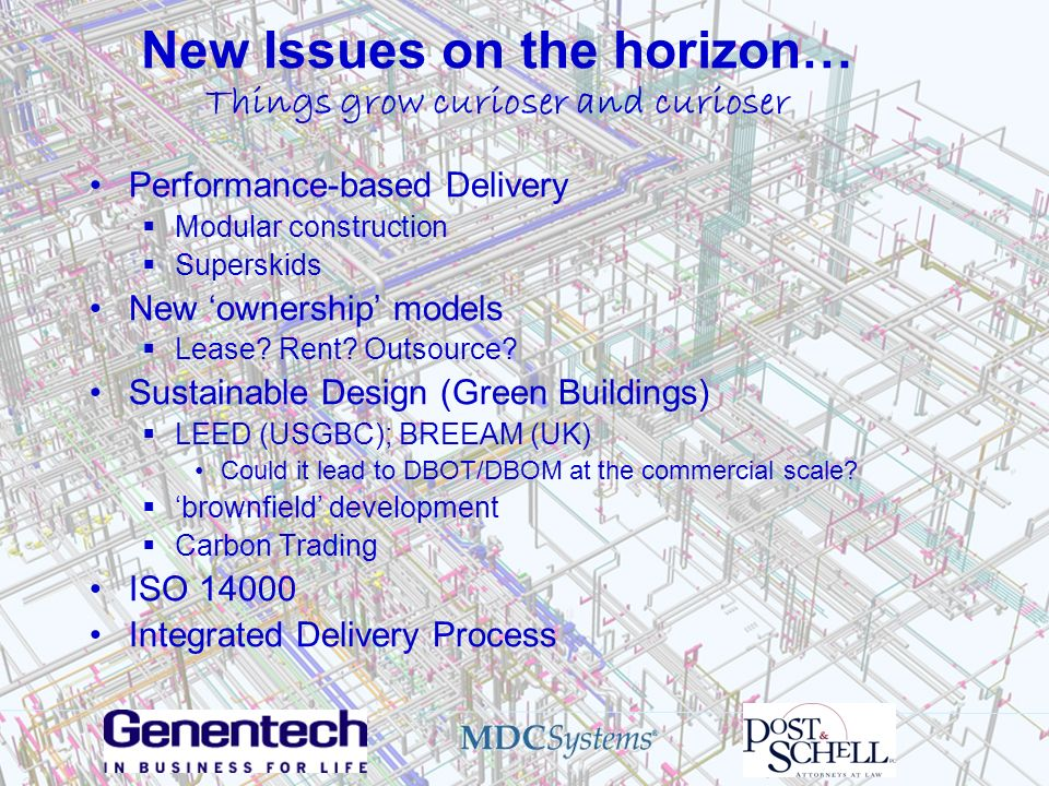 New Issues on the horizon… Things grow curioser and curioser Performance-based Delivery Modular construction Superskids New ownership models Lease? Re