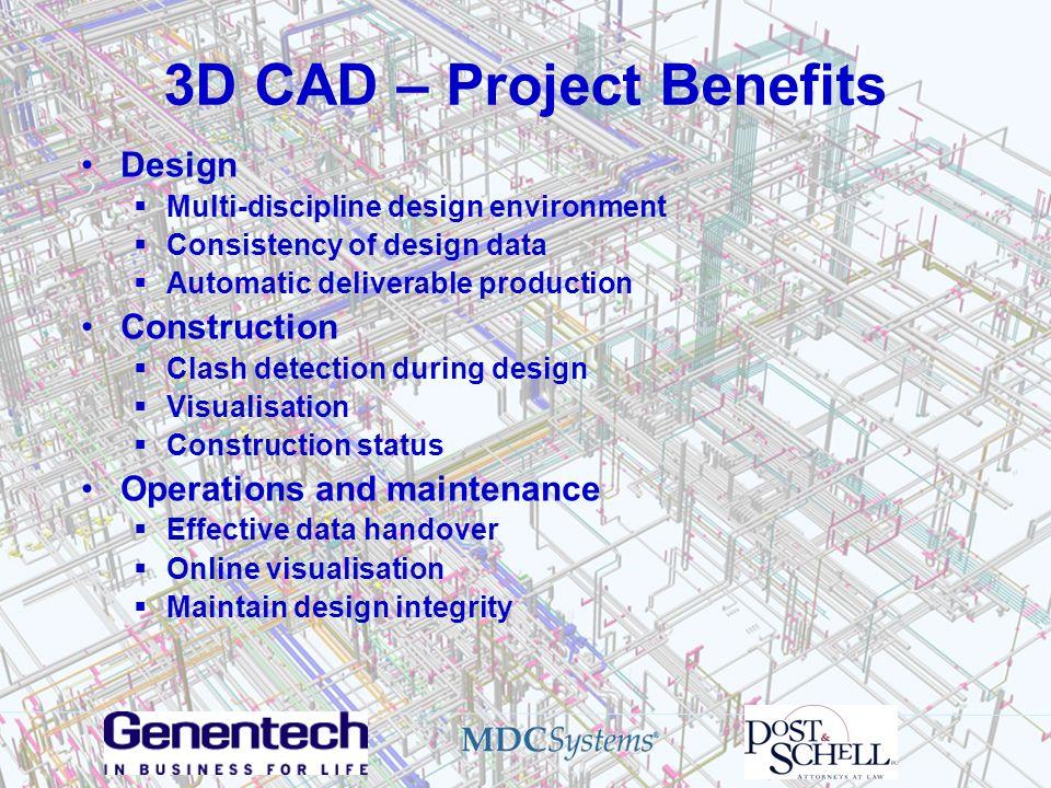 3D CAD – Project Benefits Design Multi-discipline design environment Consistency of design data Automatic deliverable production Construction Clash de