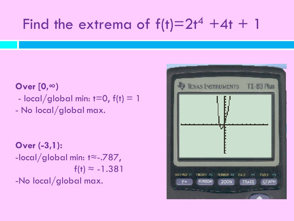 Find the extrema of f(t)=2t 4 +4t + 1 Over [0,) - local/global min: t=0, f(t) = 1 - No local/global max. Over (-3,1): -local/global min: t-.787, f(t)