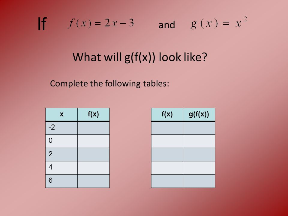 If and What will g(f(x)) look like xf(x) -2 0 2 4 6 f(x)g(f(x)) Complete the following tables:
