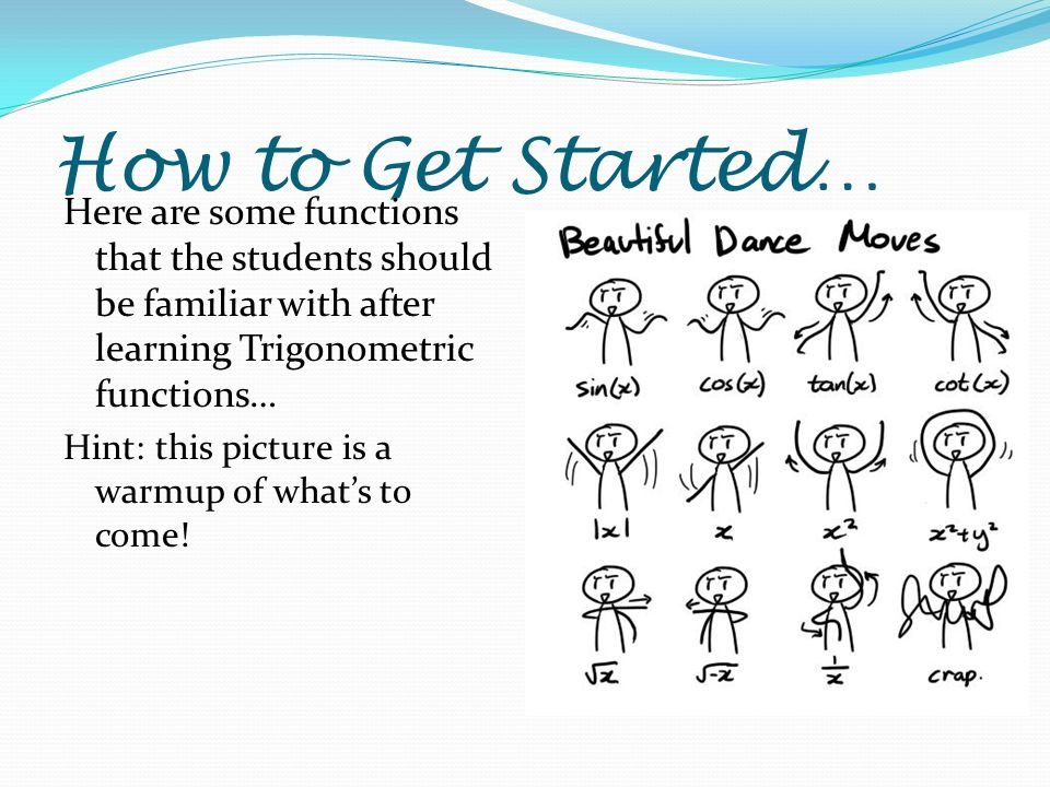 How to Get Started… Here are some functions that the students should be familiar with after learning Trigonometric functions… Hint: this picture is a warmup of whats to come!