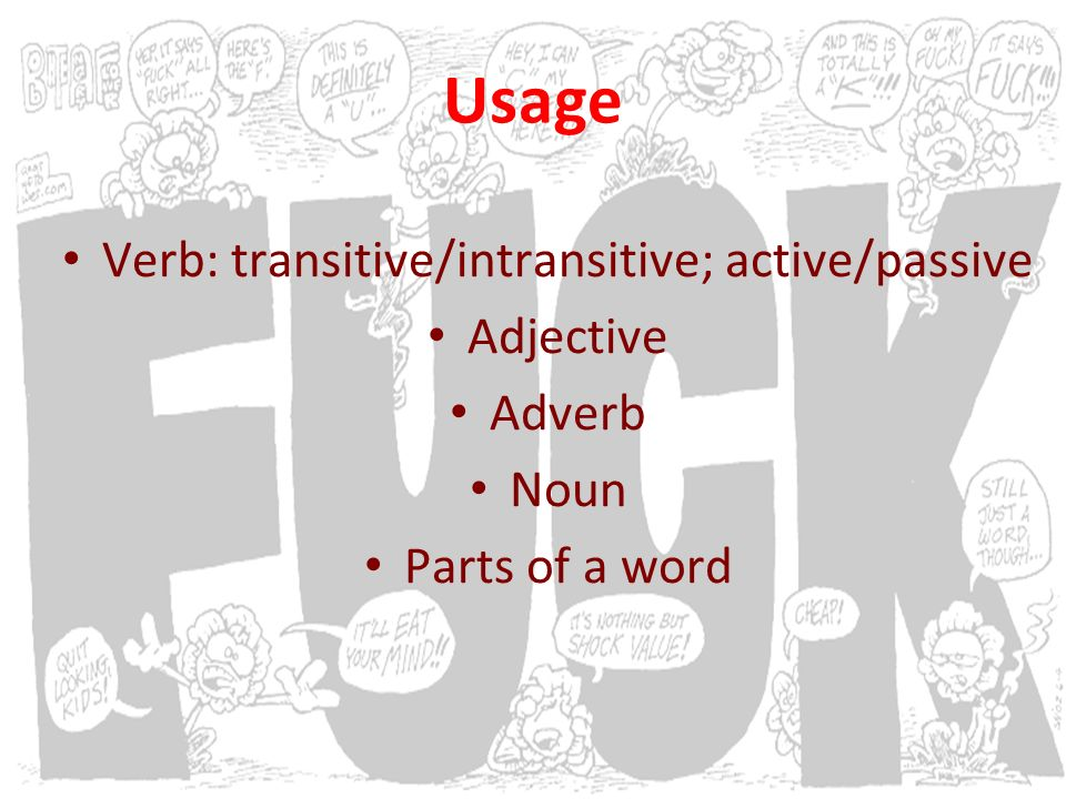 Usage Verb: transitive/intransitive; active/passive Adjective Adverb Noun Parts of a word