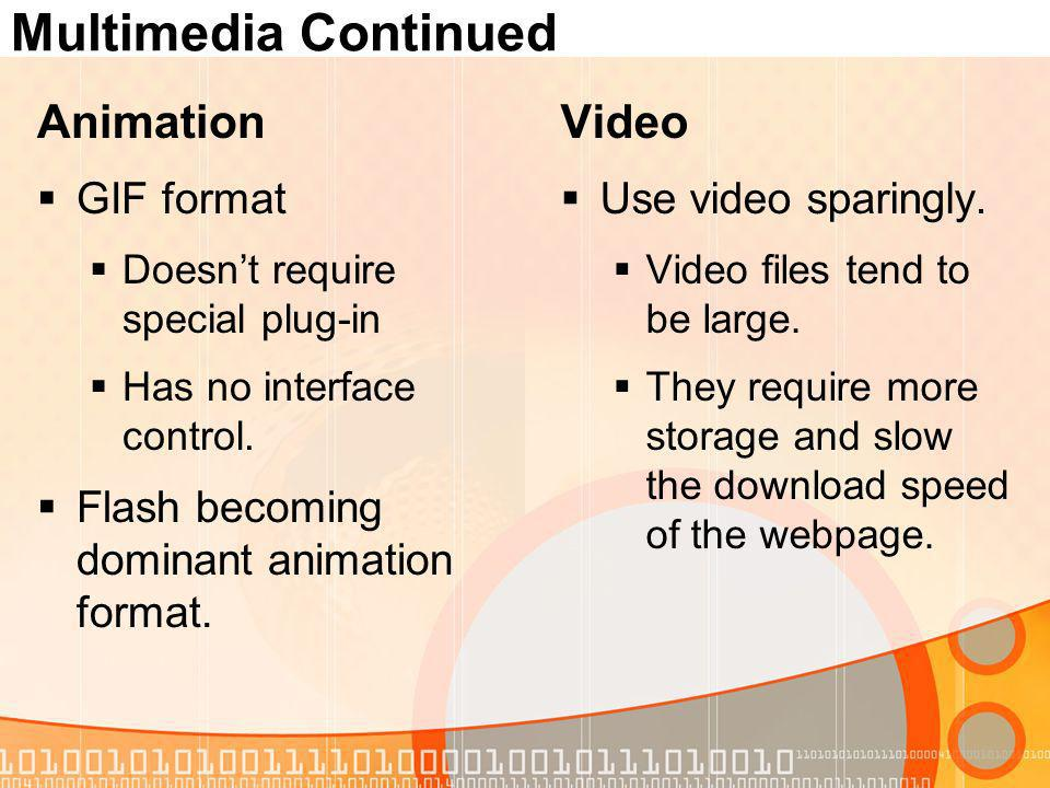 Multimedia Continued Animation GIF format Doesnt require special plug-in Has no interface control.