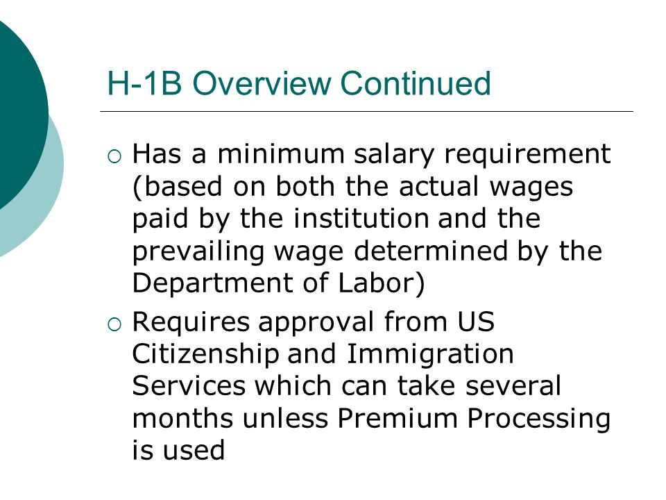 H-1B Filing Fees and Obligations Institution should pay filing fees: $190 I-129 Fee, $500 New Application Anti-Fraud Fee, and an optional $1000 Premium Processing Fee Department agrees to employ the international employee for the entire period requested on the H-1B application; early termination requires the department to pay the return flight costs for the employee