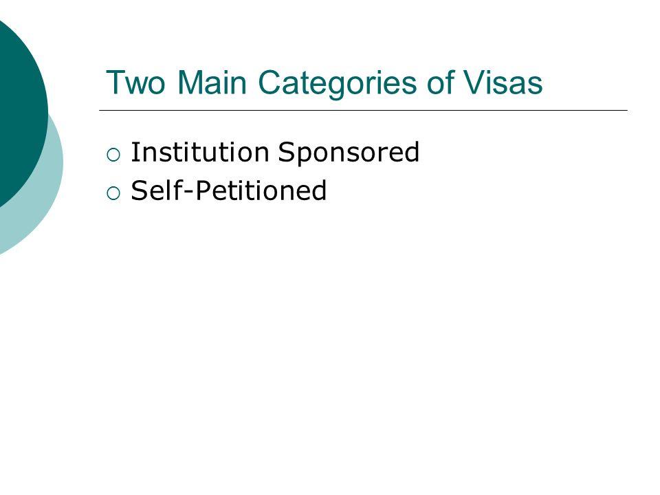 Institution Sponsored J-1 (Scholar/Professor; Short-term; and Specialist) H-1B TN – Trade NAFTA O-1 Permanent Residency