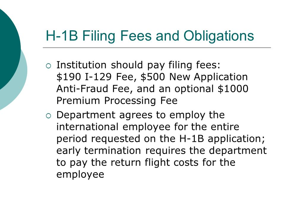 Filing and H-1B Main documents to file are the I-129 and an approved Labor Condition Application (ETA 9035) Must also submit all supporting documents from the intl employee Department must maintain a public inspection file, which includes the LCA, prevailing wage, actual wage, and proof of the posting of LCAs (even if done through an attorney)