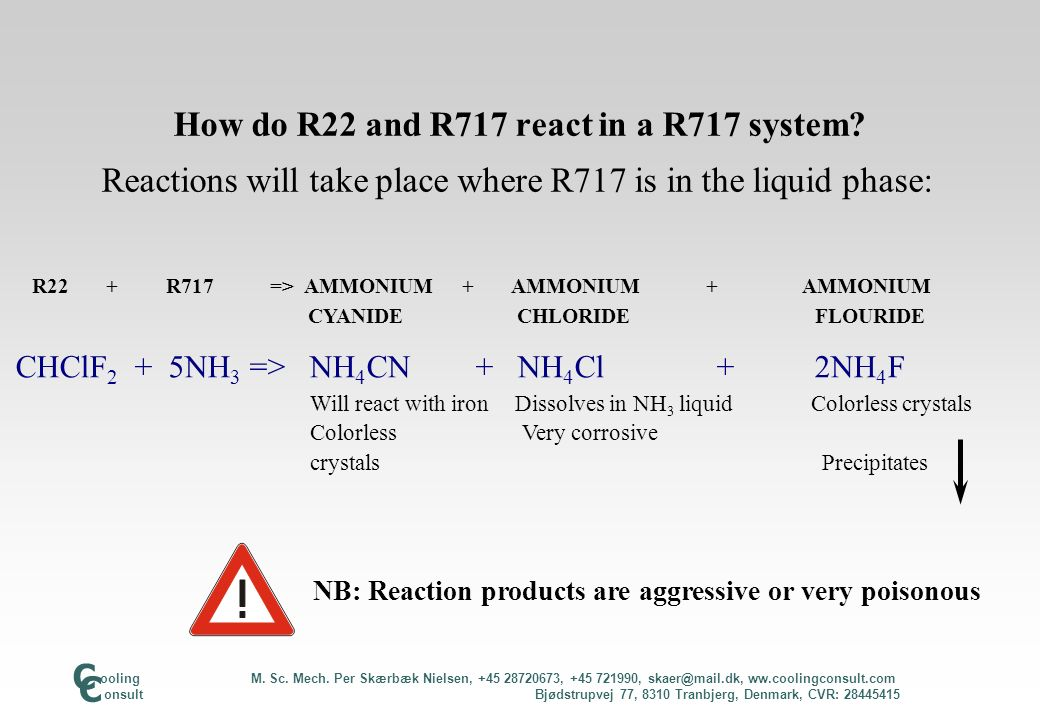 How do R22 and R717 react in a R717 system? Reactions will take place where R717 is in the liquid phase: R22 + R717 => AMMONIUM + AMMONIUM + AMMONIUM