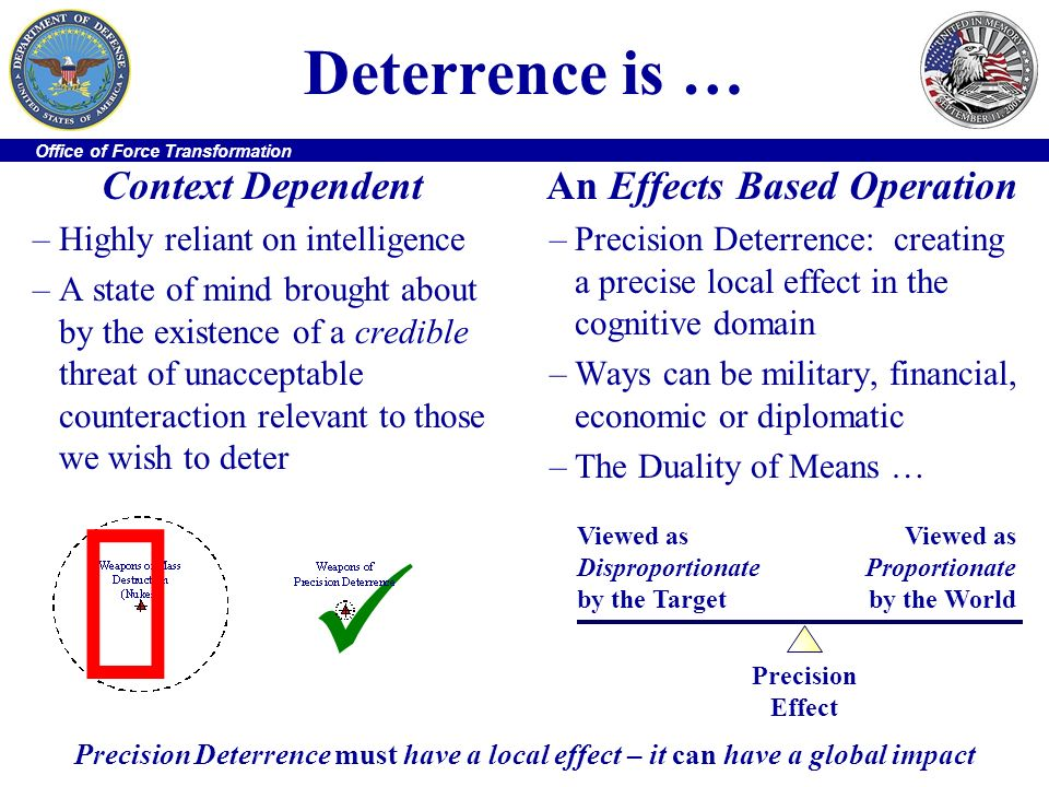 Office of Force Transformation Deterrence is … Context Dependent –Highly reliant on intelligence –A state of mind brought about by the existence of a