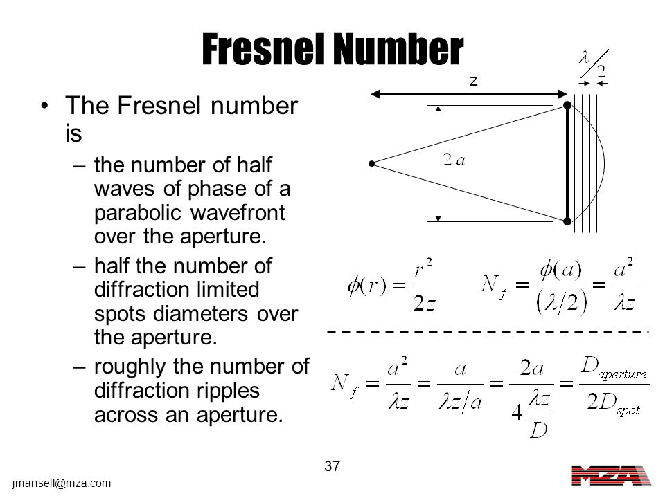 jmansell@mza.com 37 Fresnel Number The Fresnel number is –the number of half waves of phase of a parabolic wavefront over the aperture. –half the numb