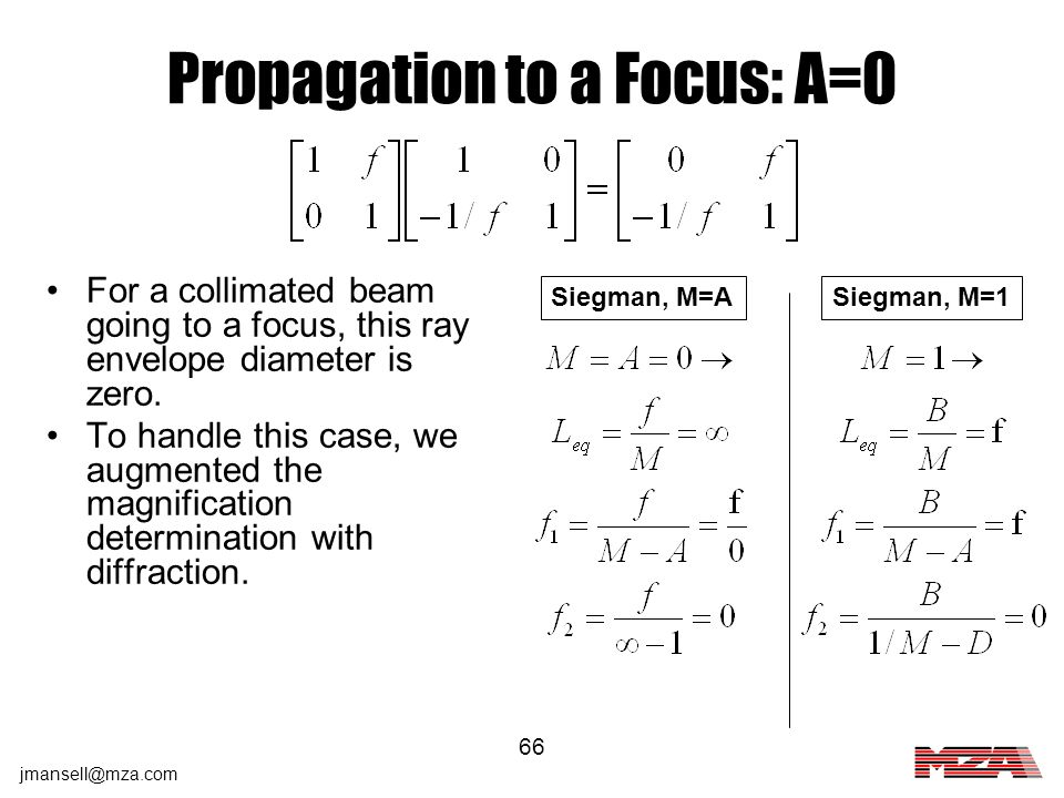 jmansell@mza.com 66 Propagation to a Focus: A=0 Siegman, M=1Siegman, M=A For a collimated beam going to a focus, this ray envelope diameter is zero. T