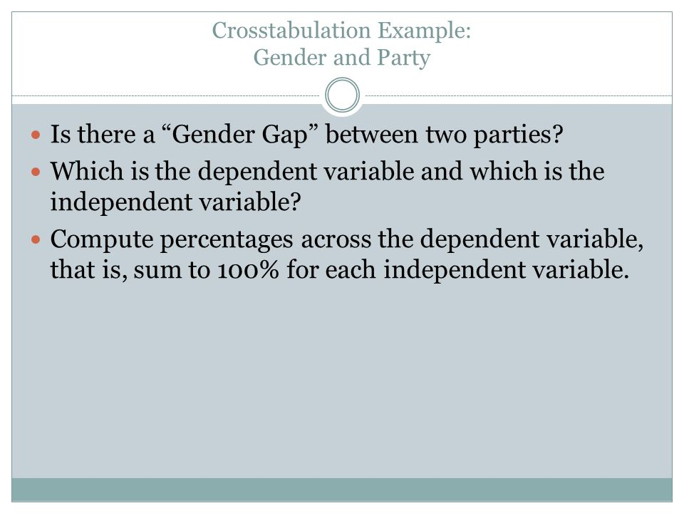 Crosstabulation Example: Gender and Party Is there a Gender Gap between two parties.