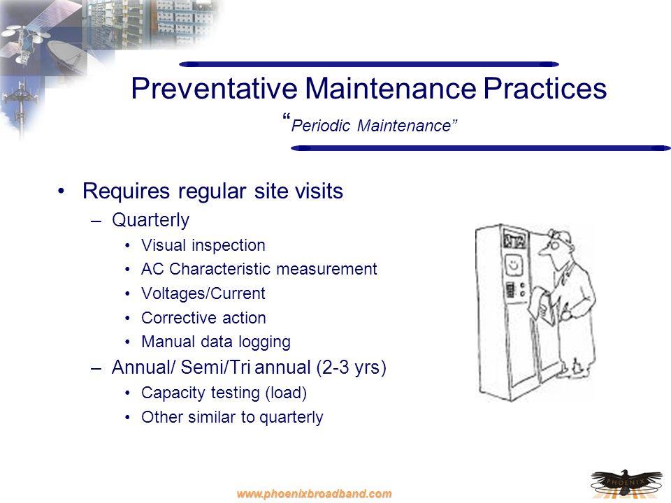 www.phoenixbroadband.com Preventative Maintenance Practices Periodic Maintenance Requires regular site visits –Quarterly Visual inspection AC Characte