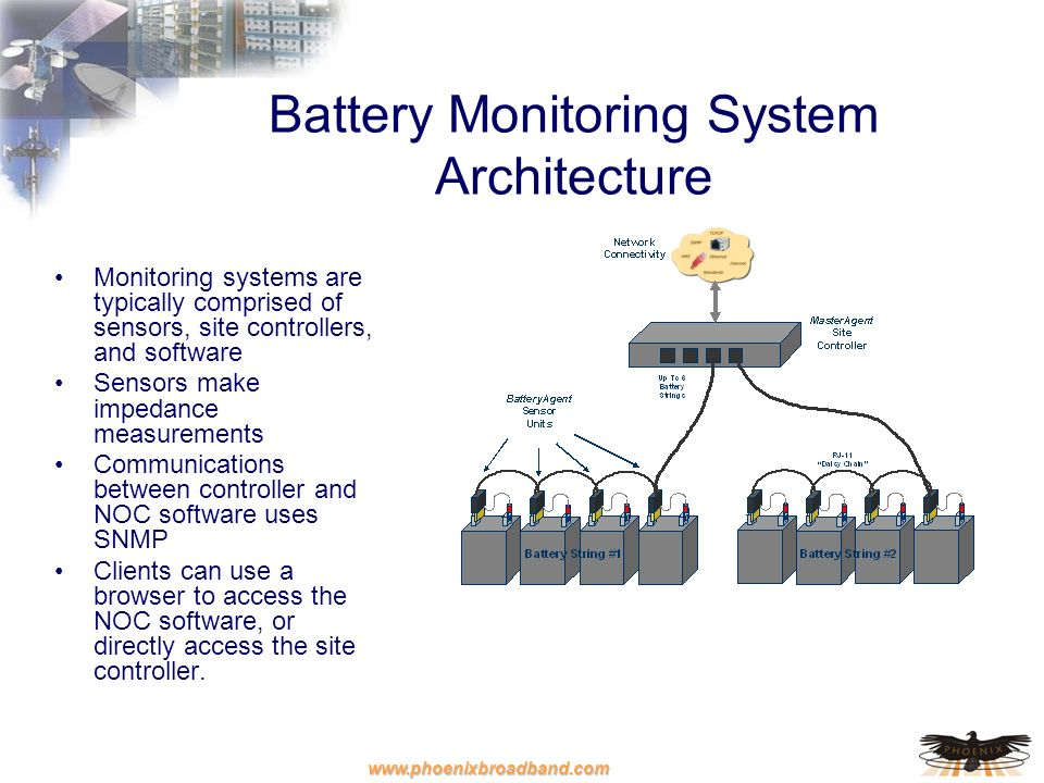 www.phoenixbroadband.com Web based Clients Battery Monitoring System Architecture Monitoring systems are typically comprised of sensors, site controll