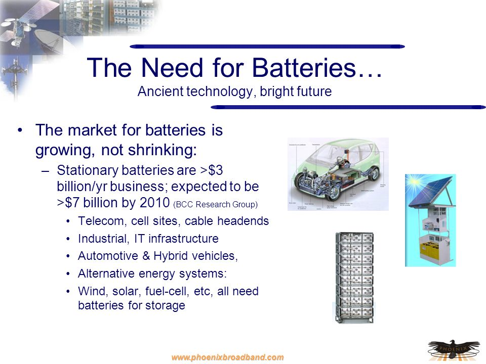 www.phoenixbroadband.com The Need for Batteries… Ancient technology, bright future The market for batteries is growing, not shrinking: –Stationary bat