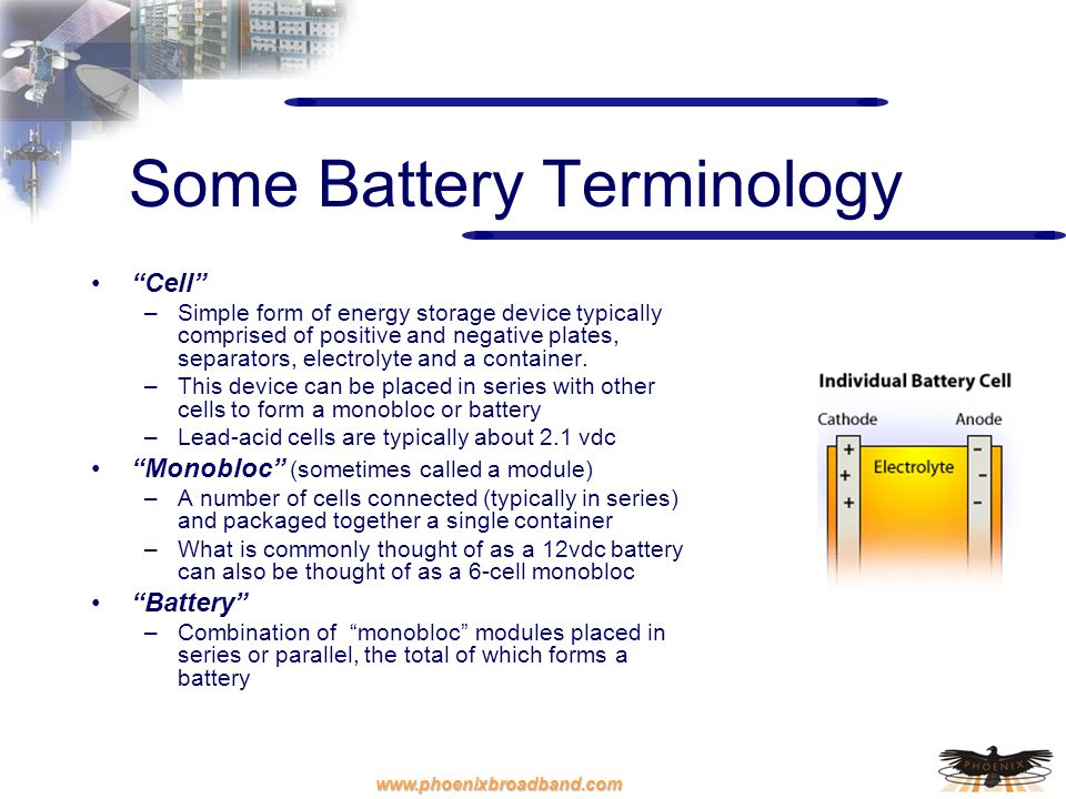 www.phoenixbroadband.com Some Battery Terminology Cell –Simple form of energy storage device typically comprised of positive and negative plates, sepa