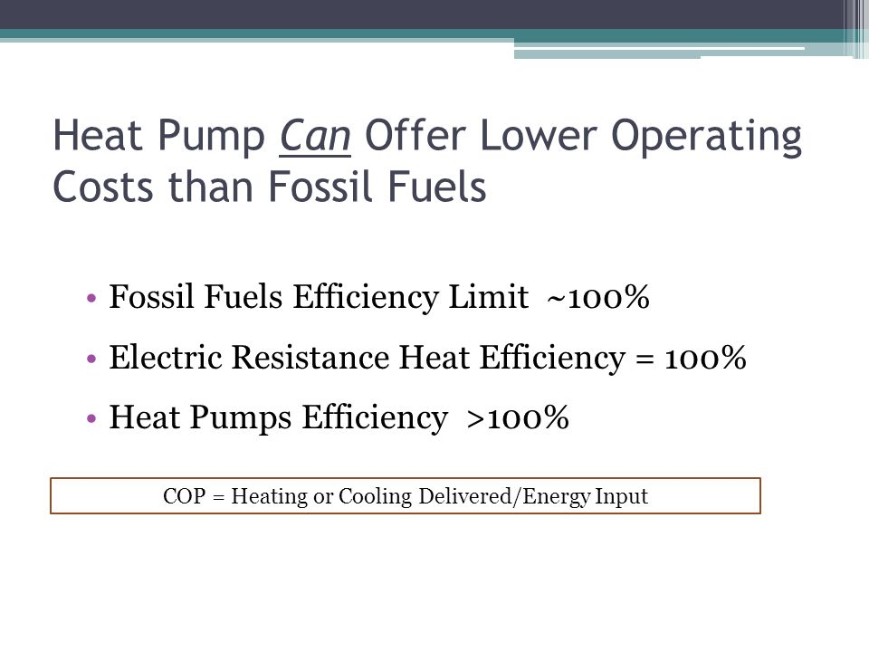 Heat Pump Can Offer Lower Operating Costs than Fossil Fuels Fossil Fuels Efficiency Limit ~100% Electric Resistance Heat Efficiency = 100% Heat Pumps Efficiency >100% COP = Heating or Cooling Delivered/Energy Input