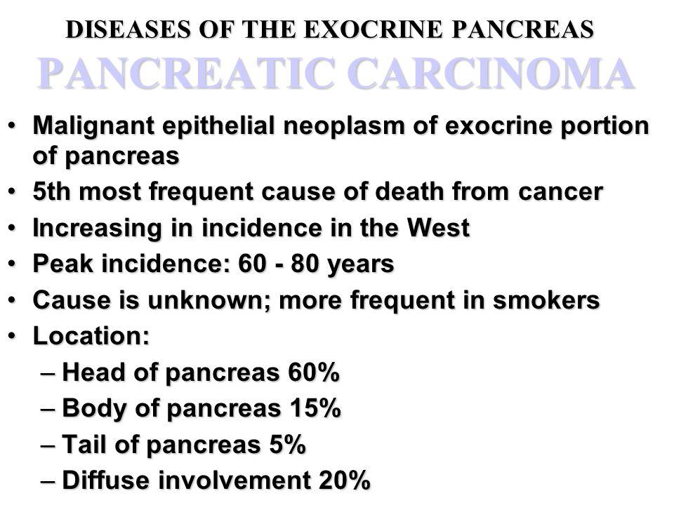 DISEASES OF THE EXOCRINE PANCREAS PANCREATIC CARCINOMA Malignant epithelial neoplasm of exocrine portion of pancreasMalignant epithelial neoplasm of e