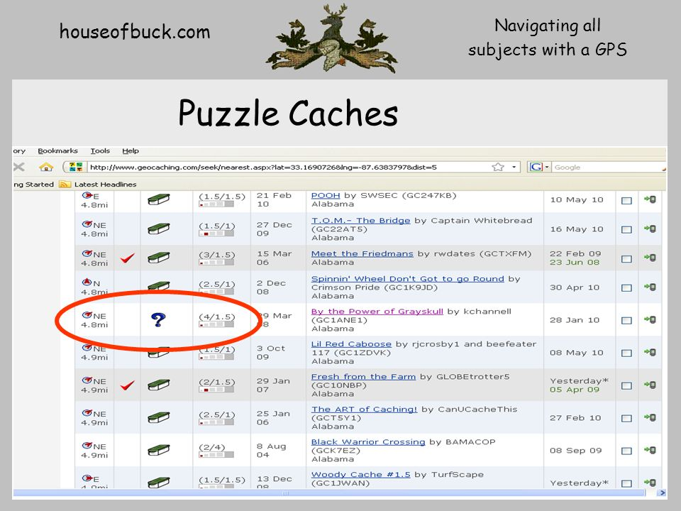 houseofbuck.com Navigating all subjects with a GPS Puzzle Caches