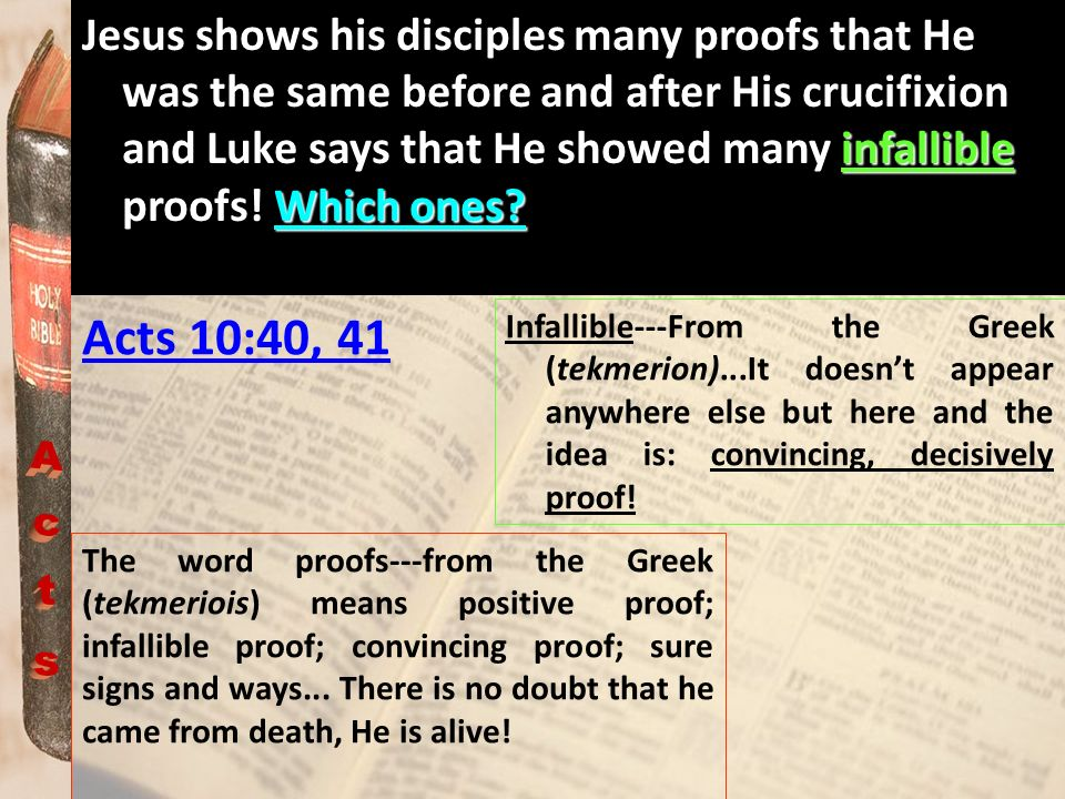 infallible Which ones? Jesus shows his disciples many proofs that He was the same before and after His crucifixion and Luke says that He showed many i