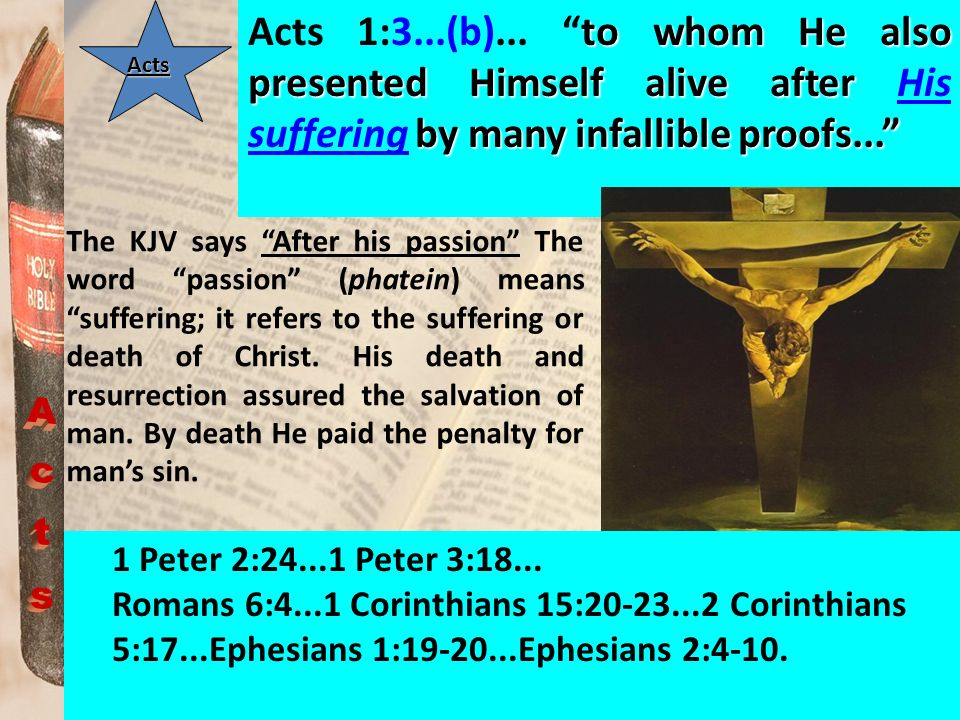 to whom He also presented Himself alive after by many infallible proofs... Acts 1:3...(b)... to whom He also presented Himself alive after His sufferi