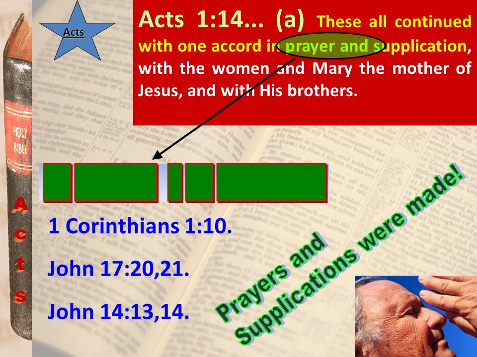 Acts Acts 1:14... (a) These all continued with one accord in prayer and supplication, with the women and Mary the mother of Jesus, and with His brothe