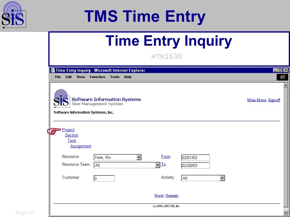 Page 10 TMS Time Entry Time Entry Inquiry HTM1630