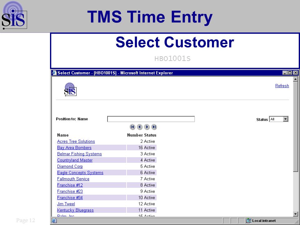 Page 12 TMS Time Entry Select Customer HBO1001S