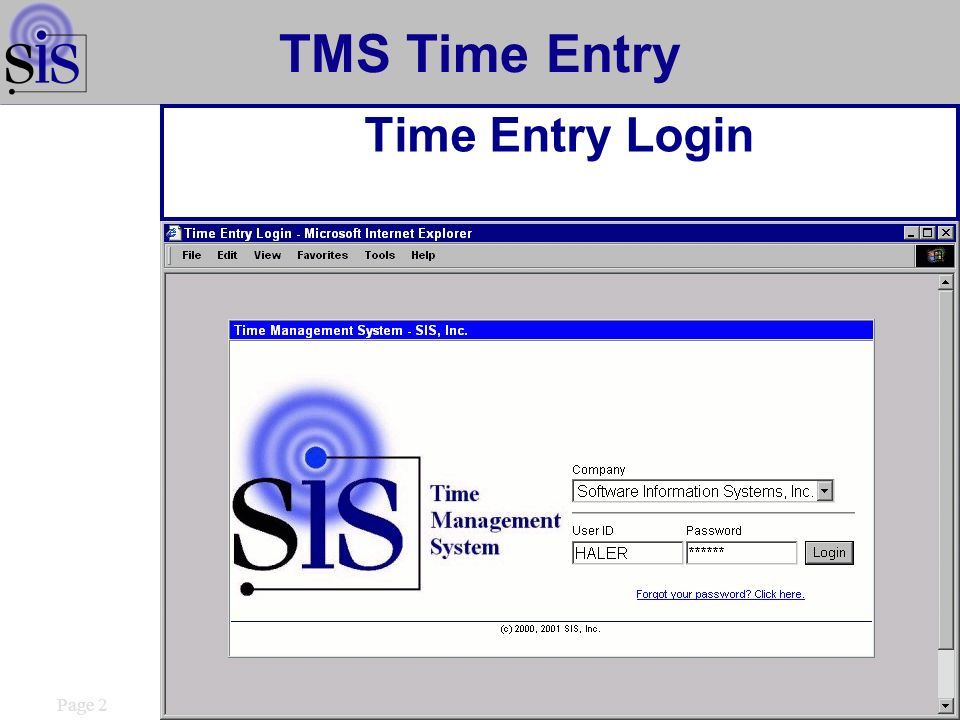 Page 2 TMS Time Entry Time Entry Login