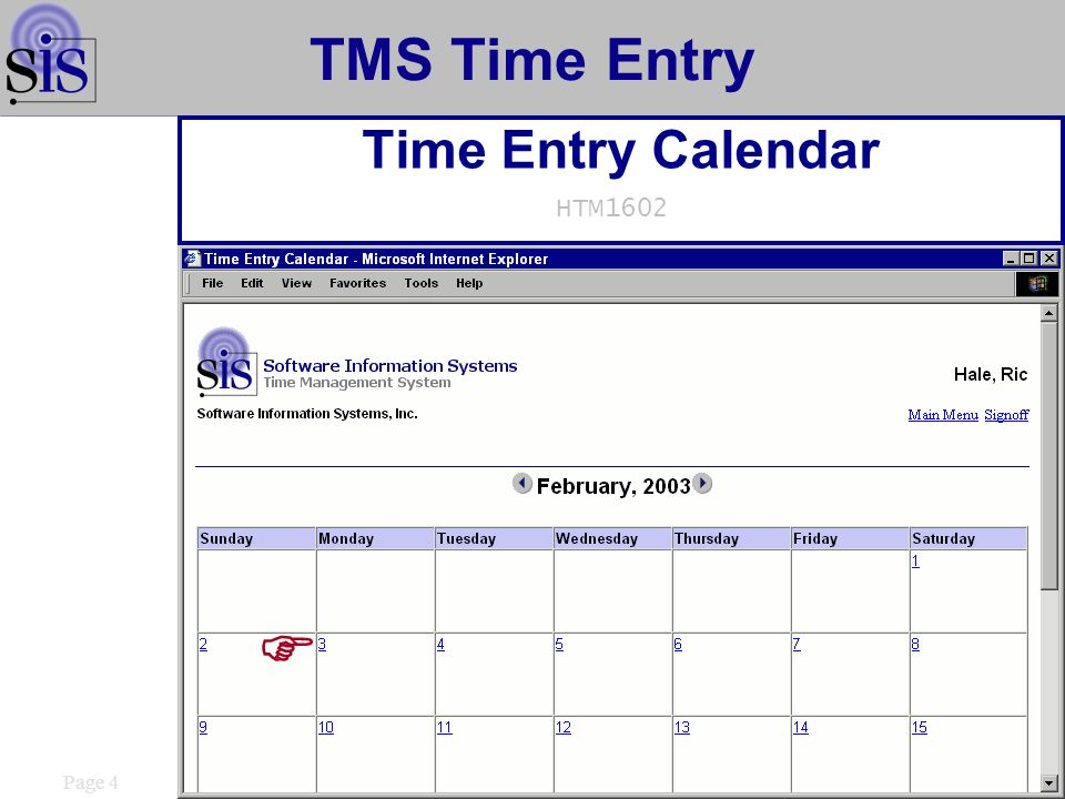 Page 15 TMS Time Entry Time and Expense Approval HTM1601