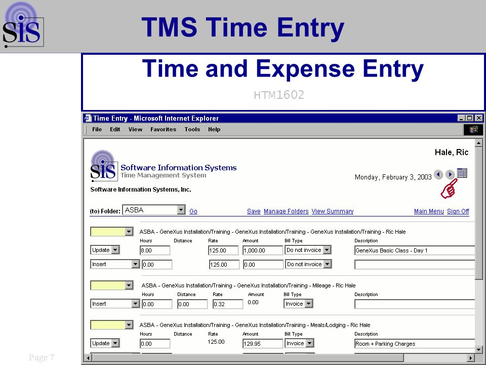 TMS Time Entry Time Entry Calendar HTM1620 Page 8
